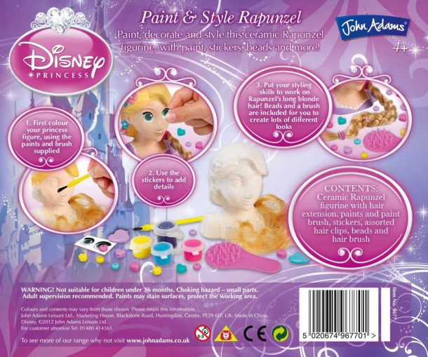 Disney Princess Paint and Style Back of Box