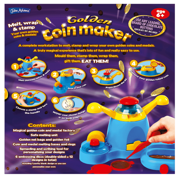 Chocolate Coin Maker Back of Box