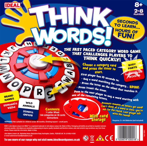 Think Words Back of Box