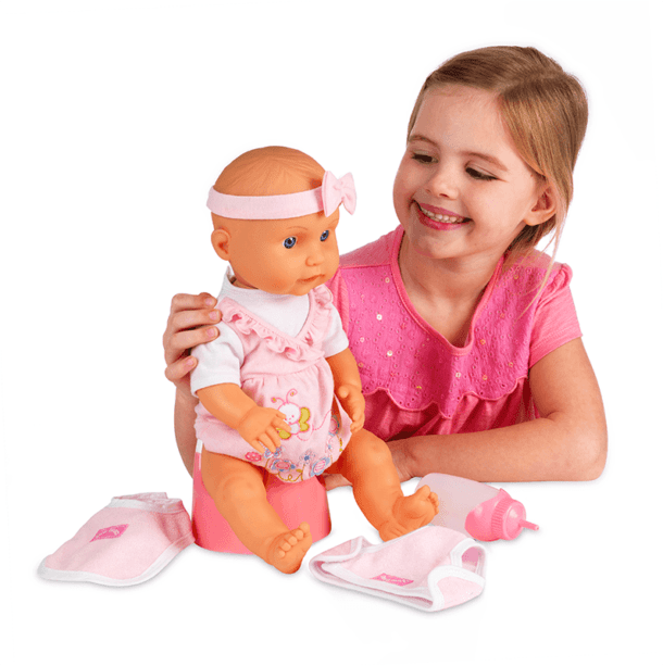 Little Girl and Tiny Tears Interactive Doll